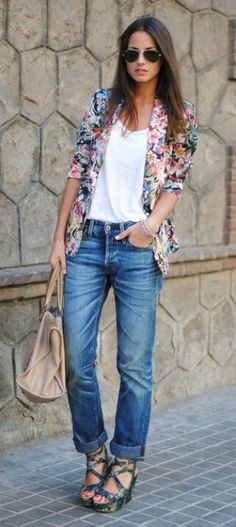 Perfect! Some florals wedges and bf jeans!!!