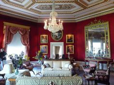 124 Basildon Park, Octasgon Drawing Room, door to sitting/drawing room Drawing Room Design, Drawing Rooms, Belton House, Georgian Interiors, Red Interiors, Fantasy House, Red Rooms, Red Walls, Romantic Homes