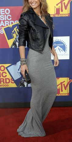Grey jersey maxi dress with cropped black leather jacket. A great way to bring summer dresses into fall and winter.
