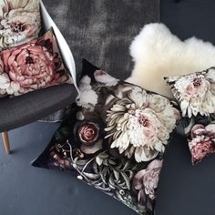 Dark Floral II Black Saturated on Velvet Cushion (80 x 80 cm) - by Ellie Cashman Design
