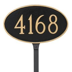 Montague Metal Products Classic Oval  Petite Address Sign Plaque Finish: Black/White
