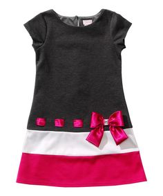 Look what I found on #zulily! Black & Pink Bow Drop-Waist Dress - Toddler…