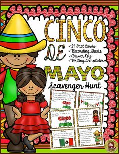 What is a mariachi band? Why is Cinco de Mayo celebrated? Where is the world's largest Cinco de Mayo celebration held? Your students will enjoy knowing the answers to these and many more interesting questions with this 24 Scavenger Hunt Fun Facts pack on Cinco de Mayo.  https://www.teacherspayteachers.com/Product/CINCO-DE-MAYO-2530801