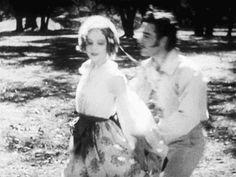 Lillian Gish and John Gilbert flirt in La Bohème, 1926