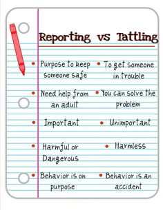reporting vs tattling