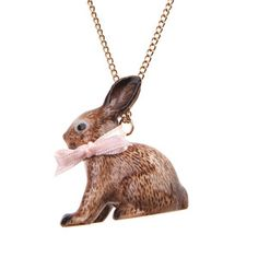 Porcelain Brown Rabbit Necklace, £14.58, now featured on Fab.