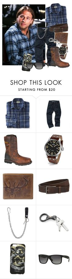 """Leland- Casual Night Out"" by macabresavant on Polyvore featuring L.L.Bean, Caterpillar, TW Steel, FOSSIL, HUGO, Dsquared2, Marcelo Burlon, Ray-Ban, men's fashion and menswear"