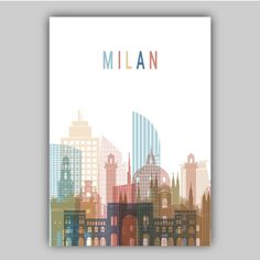 Italian Grill, City Print, Poster City, Metallic Colors, Italy Travel, Travel Posters, Definitions, Color Splash, Milan