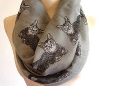 Print infinity scarf spring scarf cat scarf print by chicdays