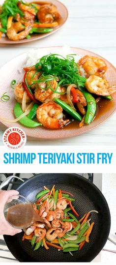 Shrimp Teriyaki Stir Fry: Secret to crunchy shrimp and light, flavorful teriyaki sauce #argocornstarch #ad