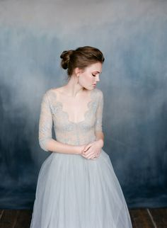 Duck egg blue wedding dress - Emily Riggs separates - Lace, Tulle.