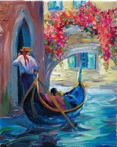 Venice Painting Oil on Canvas Gondolas Contemporary Wall Decor Miniature Art. $60.00, via Etsy.
