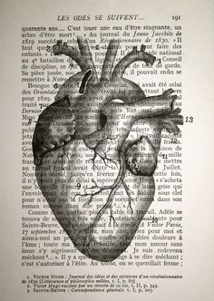 Anatomical Heart Print Vintage French Book Page Print by CrowBiz, $10.00