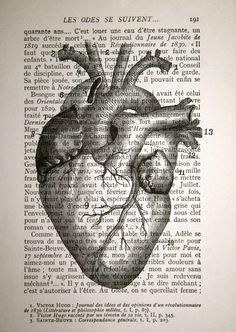 Anatomisches Herz Drucken - Jahrgang französisches Buch Seite drucken - 5 x 7 - menschliches Herz Anatomie Print - Anatomy Art für Valentinstag Geschenk