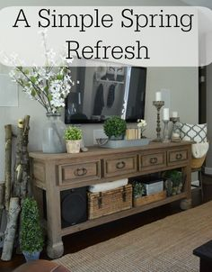 A Simple Spring Refresh in the entryway and family room - adding a few new things.