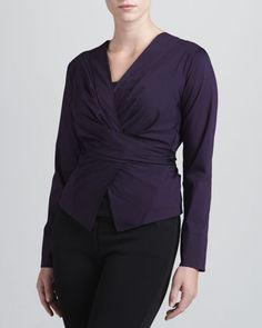Wrap & Tie Shirt, Wild Iris  by Donna Karan at Neiman Marcus.