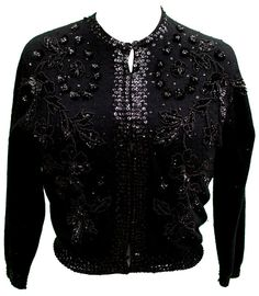 Gala attire: 1950s Black Angora Blend Cardigan Sweater with Floral Beading & Sequins all over.