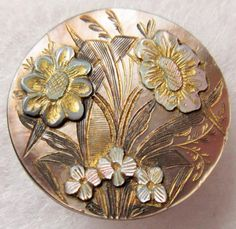 Breathtaking Old Antique Victorian Carved MOP Shell BUTTON w/ Iridescent Flowers