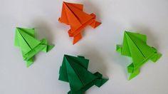 origami animaux en forme de grenouilles sauteuses en vert et orange
