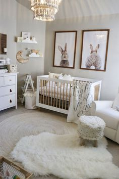 Classic baby nursery  I grew up with bunny nursery. Not preggers but one day maybe. Love the big  bunny pics