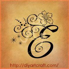 Lettera E anemone tattoo
