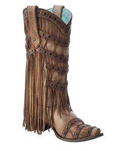 Corral Women's Tan Fringed Layers and Studs Cowgirl Boots - C2988