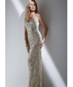 MignonAll over beaded v-neck gown