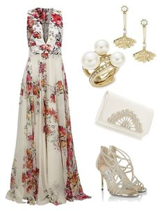 Summer wedding by elyrod on Polyvore featuring polyvore, fashion, style, Zuhair Murad, Jimmy Choo, Oscar de la Renta and clothing