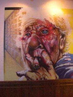 Mural by Weirdo 8' X 8' spray paint on wood