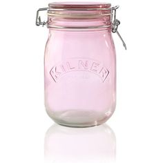 Kilner Clip Top Pink Glass Storage Jar 1L (16 BRL) ❤ liked on Polyvore featuring home, kitchen & dining, kitchen, pink, cozinha, fillers, tea storage jar, glass spice jars, pink glass jar and spice storage jars