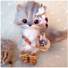"Needle felted cat by Japanese artist ""Creamy"" I love her work!"