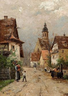 Street Scene in Stone Walls near Rastatt. PDF chart : Street Scene in Stone Walls near Rastatt Counted cross Great Paintings, Beautiful Paintings, Landscape Art, Landscape Paintings, Intermediate Colors, Cottage Art, Arte Pop, Counted Cross Stitch Patterns, Stone Walls