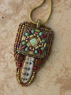 "Mosaic Pendant Kit with Porcelain Barn Owl   Feather ""Wisdom""  by HeidiKummliDesigns"