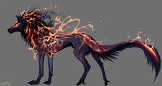 Hound of Odin by NukeRooster on DeviantArt Mystical Animals, Mythical Creatures Art, Mythological Creatures, Magical Creatures, Fantasy Wolf, Fantasy Beasts, Dark Fantasy Art, Shadow Wolf, Demon Wolf