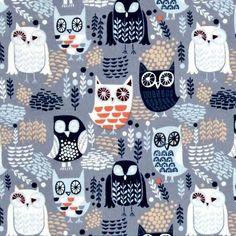 Dear Stella Nocturnal Dreams Flannel Night Owls Grey Fabric By The Yard Owl Nursery, Woodland Nursery, Fabric Embellishment, Embellishments, Night Owl, Fabric Shower Curtains, Fabric Online, Grey Fabric, Fabric Panels