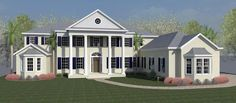 Colonial Florida Southern Traditional House Plan 51218 Elevation