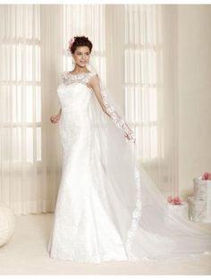 Robe de mariée femme en dentelle traîne courte sans manches col bateau chic pas cher