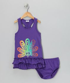 Take a look at this Purple Peacock Dress & Diaper Cover - Infant, Toddler & Girls by Gioberti on #zulily today!