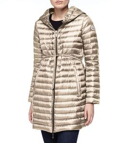 Long Puffer Drawstring Coat, Stone by Moncler at Neiman Marcus.