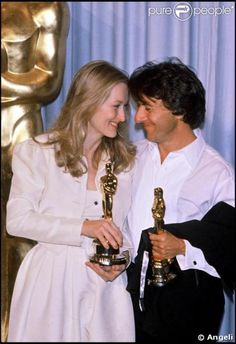 "Meryl Streep (Best Supporting Actress) and Dustin Hoffman (Best Actor) with their Oscars for ""Kramer vs. Kramer."""