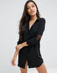 Платье-рубашка с кружевной вставкой Missguided