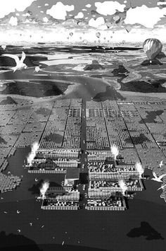 A proposal for a water-based city which deals with rising sea levels by Alfie Hope, designing a new hydro-urban model for the future. Architecture Mapping, Architecture Collage, Architecture Visualization, Architecture Drawings, City Architecture, Urban Mapping, Perspective, Urban Intervention, Japanese Monster