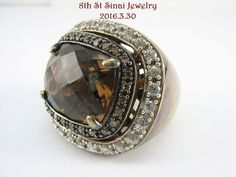 Bold 925 Sterling Silver Smoky Quartz & Champagne & Clear CZ Ring Size 7 #SP #SolitairewithAccents