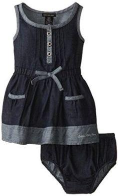 Amazon.com: Calvin Klein Baby Girls\' Blue Denim Dress with Pockets On Skirt: Clothing