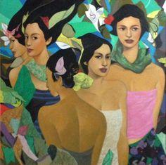 Five Women. Hermes Alegre. Charlies Art Gallery Filipino Art, Filipino Culture, Black Canvas Paintings, Simple Acrylic Paintings, Philippine Art, Cold Cuts, She Walks In Beauty, Filipiniana, Portraits