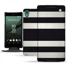 Etui cuir Sony Xperia Z5 Rayures Noir et Blanc - Housse Flip Verticale. #Etui #Flip #Vertical #Sony #Z5 #B&W