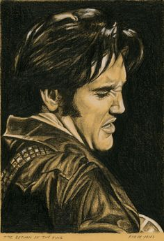 Elvis in Charcoal no. 15 for 2015. The Return of the King Charcoal and White chalk on colored paper, 15 x 21 cm. www.elvis-art.com