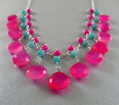 Bright Pink and Turquoise Blue Gemstone Wire Wrapped Necklace