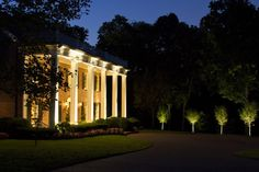 Belle Meade architectural LED lighting and tree lighting by Outdoor Lighting Perspectives of Nashville Facade Lighting, Tree Lighting, Exterior Lighting, Outdoor Lighting, Lighting Ideas, Commercial Lighting, Facade Architecture, Classic House, White Wine