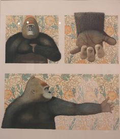 The Gorilla said with its hands, 'i... want... a friend' from Little Beauty by Anthony Browne